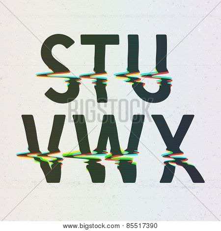 Vector CMYK Print Distortion Font from S to X