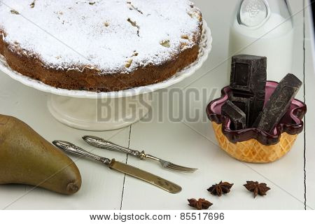 Italian Cake With Ricotta, Pears And Drops Of Chocolate