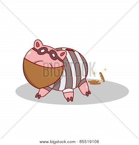 Isolated cartoon piggy bang burglar stealing money