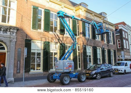 Car Tower - Hoist Works On The Street In  Dutch City Of Den Bosch