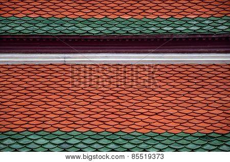 Ceramic Tile On Rooftop Of Buddhish Church