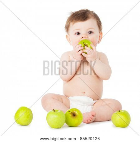 Happy baby with apple isolated on white