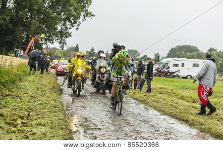 The Cyclist Alessandro De Marchi On A Cobbled Road - Tour De France 2014