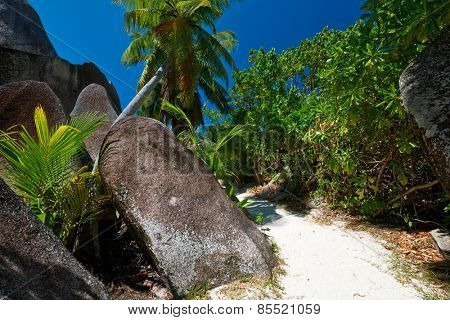 Beautiful beach path at Seychelles, La Digue, Anse Source d'Argent