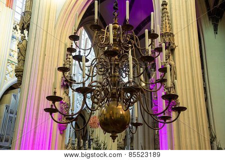 Chandelier With Candles In The Cathedral Dutch City Of Den Bosch