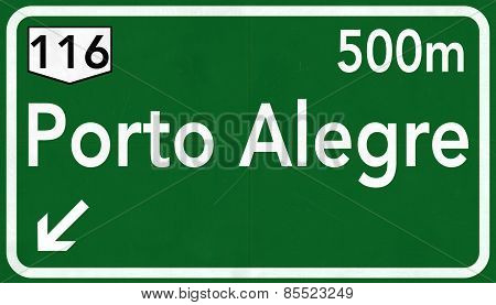 Port Alegre Brazil Highway Road Sign
