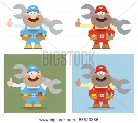 Cartoon Illustration Of Mechanic Character 4. Collection Set