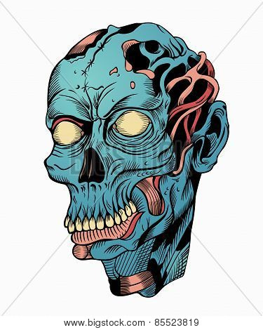 Illustration of blue zombie head.