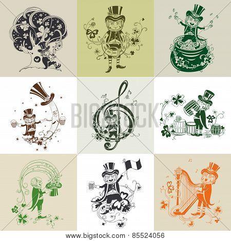 Set of nine illustration for St. Patrick's Day.