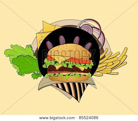 Illustration of cheeseburger.