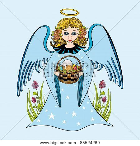 Illustration of cute little angel.