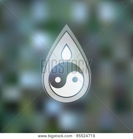 Vector logo design template. Abstract blue water drop with yin yang symbol on blurred background