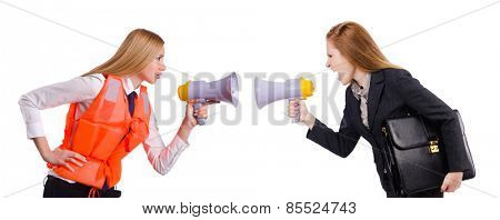 Business lady and stewardess with loudspeaker isolated on white