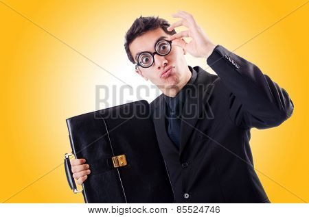 Nerd businessman isolated on the white