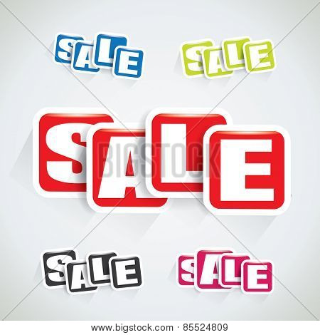 Sale tag set made of rectangular bubbles