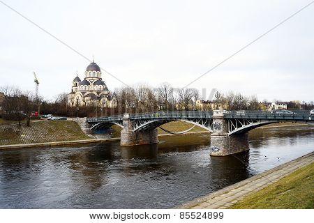 Orthodox Church And Bridge Over Neris River