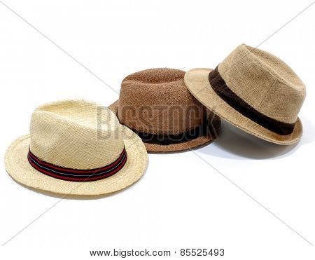 Three Summer panama straw hat