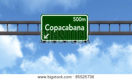 Copacabana Brazil Highway Road Sign