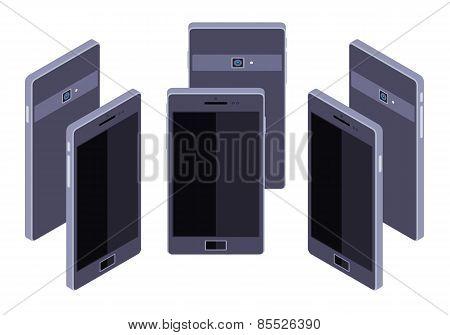 Isometric generic black smartphone