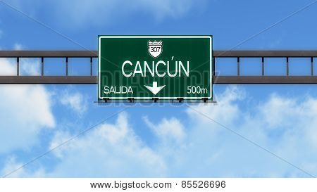 Cancun Mexico Highway Road Sign