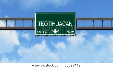 Teotihuacan Mexico Highway Road Sign