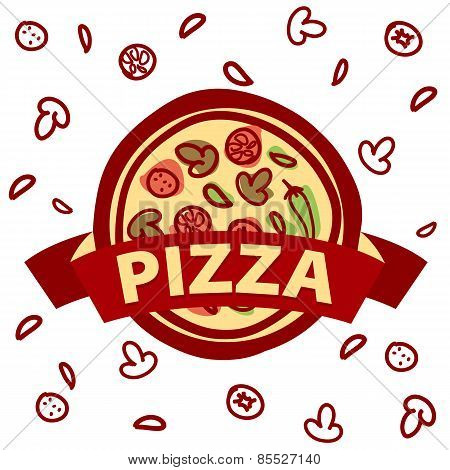 Vector Icon Round Pizza And Ingredients