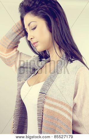 beautiful woman with a cardigan
