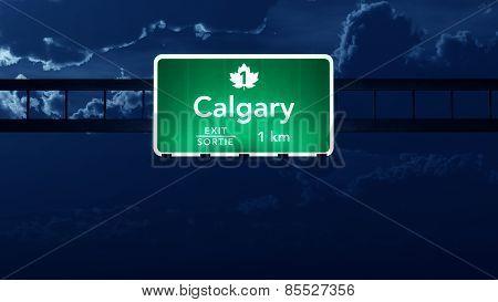 Calgary Highway Road Sign at Night