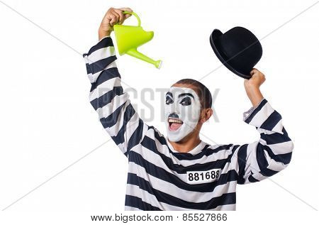 Funny prisoner with hat isolated on white
