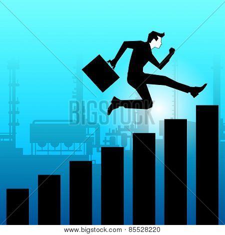 Businessman jumping towards success