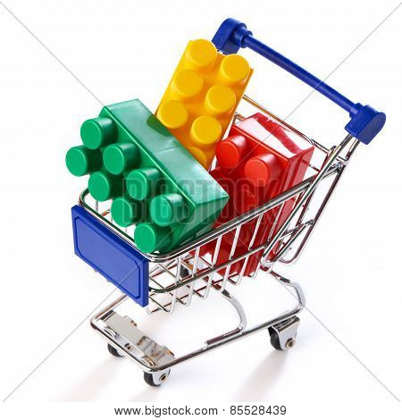 Shopping Trolley With Toy Colorful Plastic Blocks
