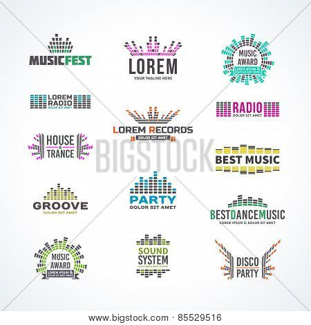 First big set music equalizer emblem vector elements