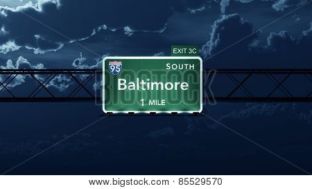Baltimore USA Interstate Highway Road Sign