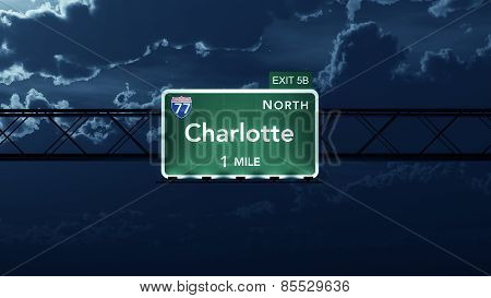Charlotte USA Interstate Highway Road Sign