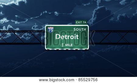 Detroit USA Interstate Highway Road Sign