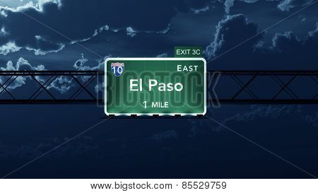 El Paso USA Interstate Highway Road Sign