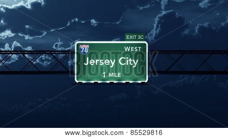 Jersey City USA Interstate Highway Road Sign