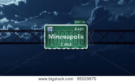 Minneapolis USA Interstate Highway Road Sign