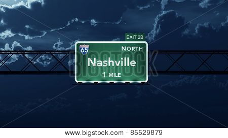 Nashville USA Interstate Highway Road Sign