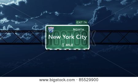 New York City USA Interstate Highway Road Sign