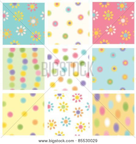 Vector Floral Seamless Patterns.