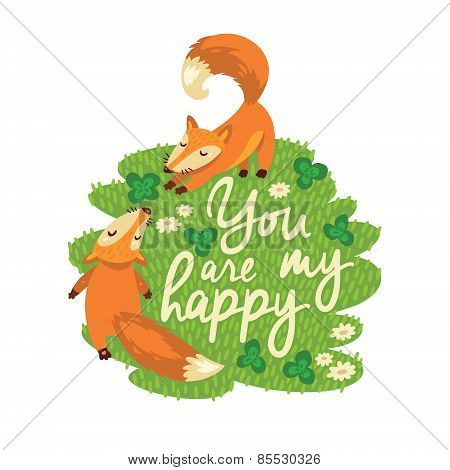 Happy card with cute foxes in vector