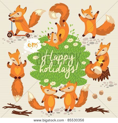 Cute background with foxes in vector