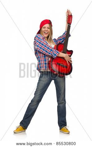 Woman with guitar isolated on the white