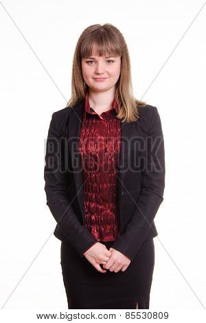 Portrait Of A Confident Woman In Jacket With Folded Hands
