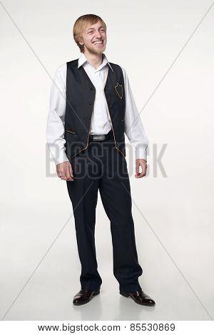 Full length man laughing
