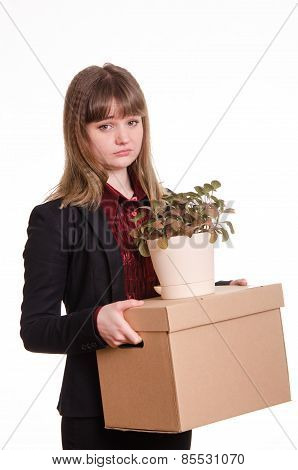 Portrait Of A Girl With Box Fired And Flower In Hands