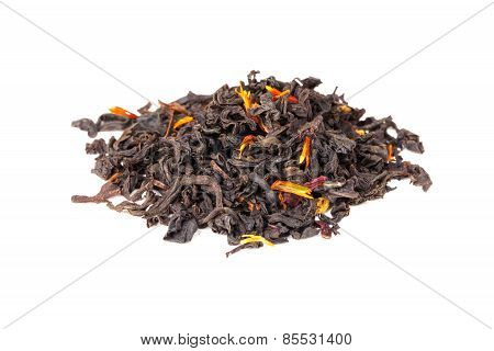 Tea Mixed With Safflower And Hibiscus Petals Isolated On White