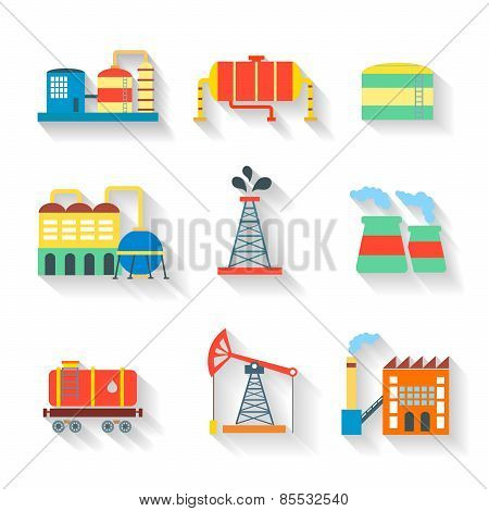 Set of colourful  industrial factory buildings and refineries on white backgrounds with long shadows