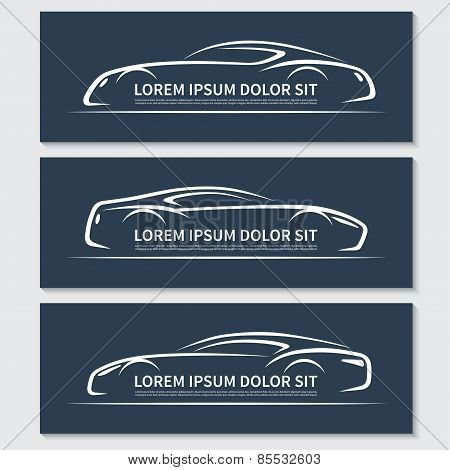 Set of abstract sports car silhouettes